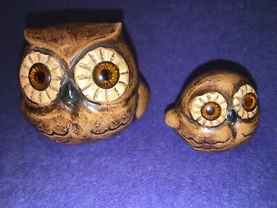 Vintage Mother & Baby Owl Art Pottery Figurines Signed By Gunhild