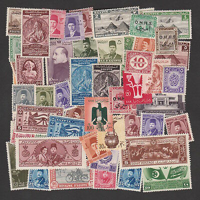 Egypt Large Selection Of Mint Stamps Including 1938 King Farouk Royal Wedding