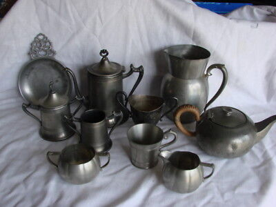 Vintage Assorted Pewter - Sheffield Plate - Aluminum 10 Piece  Lot