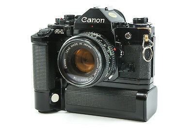 **Very Good, Tested** Canon A-1 + FD 50mm f/1.8 and Canon Motor Drive MA