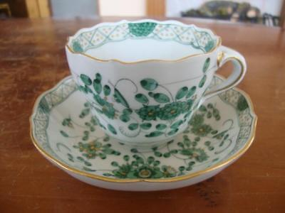 Fine Antique Meissen Porcelain Hand Painted Cup And Saucer.