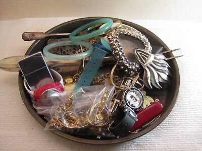 vintage junk drawer lot,jewelry,Batman watch,Zippo lighter,Wenger camp knife,old