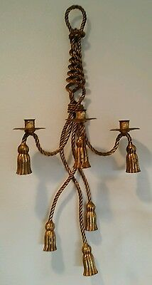 Italian Hollywood Regency Tole Metal Gold Gilt Rope Tassel Wall Candle Sconce