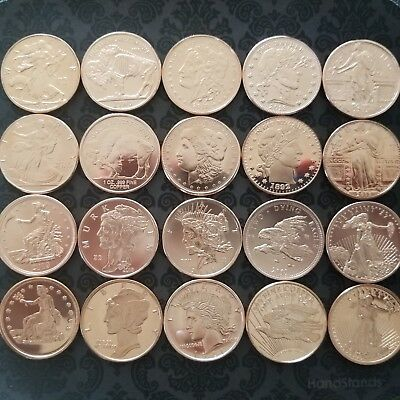 ZOMBUCKS BEFORE AND AFTER all 20 rounds ZOMBIEFIED .999 FINE COPPER COMPLETE SET
