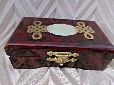 Small Wooden Vintage Chinese Brass Accented Trinket Jewelry Box