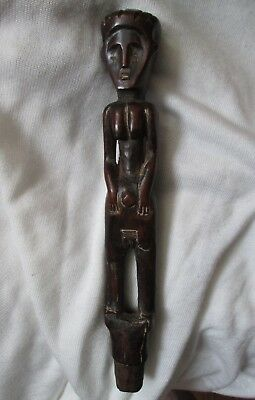 Antique old 19th Century East AFRICA African Baule Tribal FEMALE Wood Sculpture