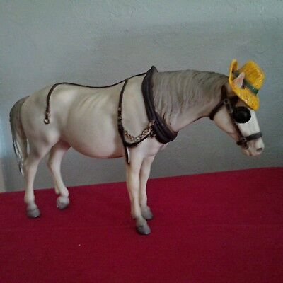 "Breyer vintage matte gray/white cart/carriage horse with yellow hat ""Old Timer"""