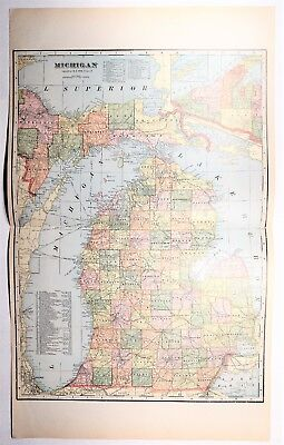 1907 Antique Michigan Map - XXL MI Map - US State History - Railroads Car Ferry