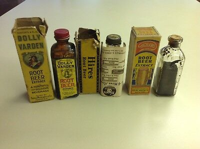 3 Rootbeer Extract Bottles Original Boxes Hires,Highland, Dolly Varden