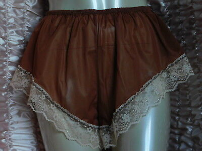 """Vtg Style Brown Nylon High Leg French Knickers Flutter Panties  36"""" - 48""""-  52"""""""