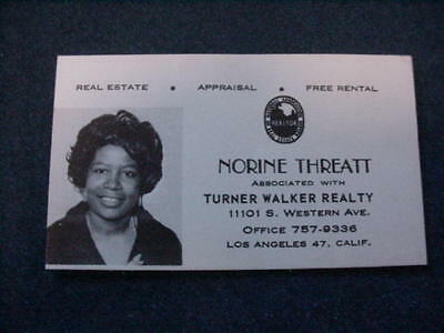 Vintage Real Estate Business Card Of A Black Female Realtor