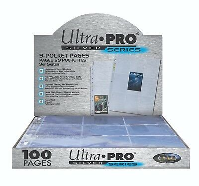 100 Ultra Pro SILVER SERIES 9 POCKET Pages - NEW Box Factory Sealed