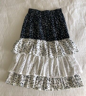 Vintage Navy Blue White Star Print & Lace Frill Tiered Pull On Cotton Skirt - 14