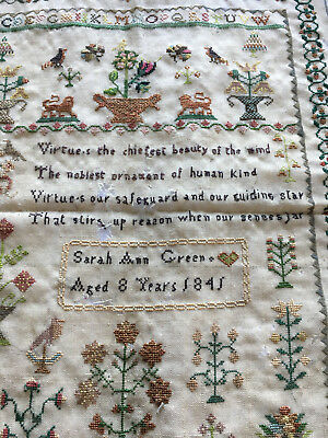 Antique 19th Century Sampler dated 1845 by Sarah Ann Green aged 8 years
