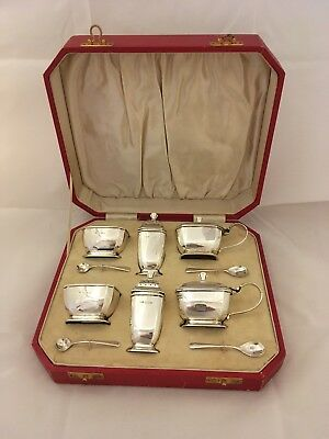 Antique Silver condiment set, Birmingham 1934, cased