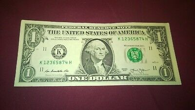 $1 One Dollar Bill SPOTTED JACKET and Fancy Serial Number Broken Ladder Rare!!!