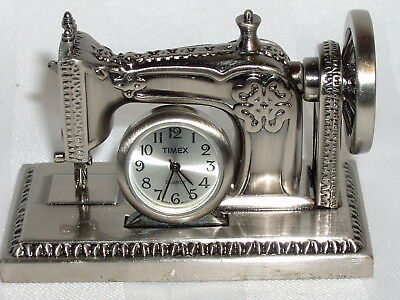 Vintage Timex Collectible Old Fashioned Treadle Sewing Machine Mini Clock Works!