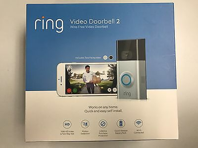 BRAND NEW Ring Video Doorbell 2 Ultra Slim Wi-Fi HD Video Motion Detection