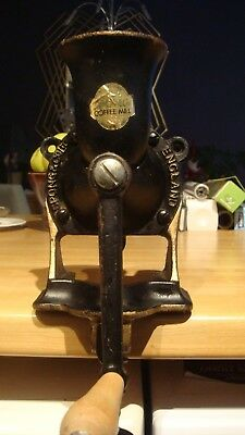 Vintage Spong No.2 Cast Iron Coffee Grinder/Mill Wall or Table Mount