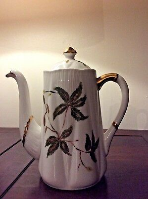 Vintage SHELLEY Coffee Pot - Fine bone china, ENGLAND - 1945/66 - green leaf