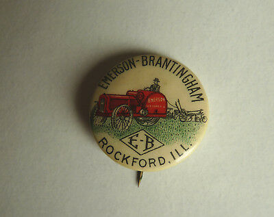 EMERSON BRANTINGHAM Tractor Pin Back Button Nice w/Red Tractor Image