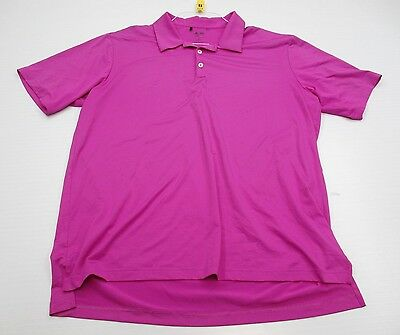 ADIDAS #T5223 Men's Size XL Athletic GOLF CLIMALITE Short Sleeve Pink Polo Shirt