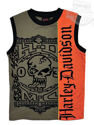 Harley-Davidson Boys 8/10 Skull Sleeveless Olive Green & Orange Muscle Shirt