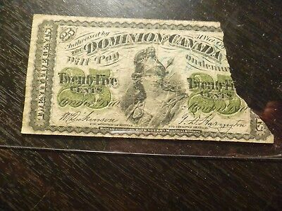 1870 25 Cents Dominion Of Canada Banknote Torn Up