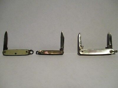 3 Small Antique Vintage Folding Pocket Knives Mother of Pearl 1 marked USA