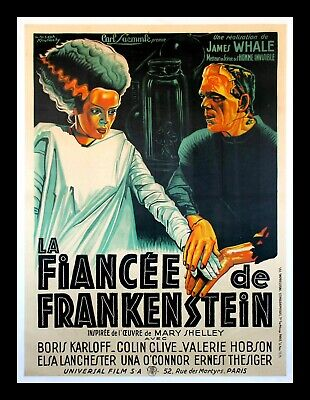 BRIDE OF FRANKENSTEIN ✯ CineMasterpieces ONLY ONE KNOWN FRENCH MOVIE POSTER 1935