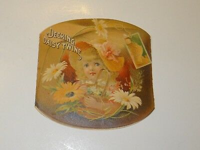 Victorian Trade Card Deering Daisy Twine& Binding Twine Fold Out w/Little Girl