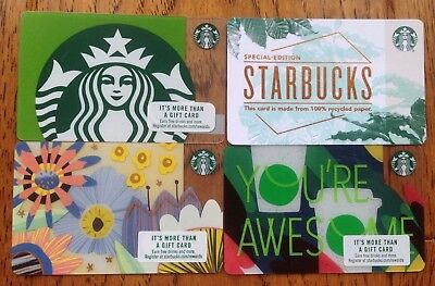 4 STARBUCKS 2018 Gift Card Set Lot RECYCLED PAPER SPRING SIREN YOU'RE AWESOME