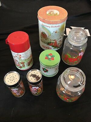 lot vtg Strawberry Shortcake cookie tin salt & pepper shakers thermos glass