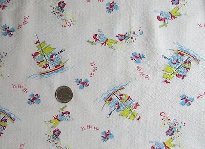 "Vtg~PIRATE Fabric~PLISSE~Juvenile~CHILD'S NOVELTY PRINT~Nursery~WHITE~37"" X 54"""