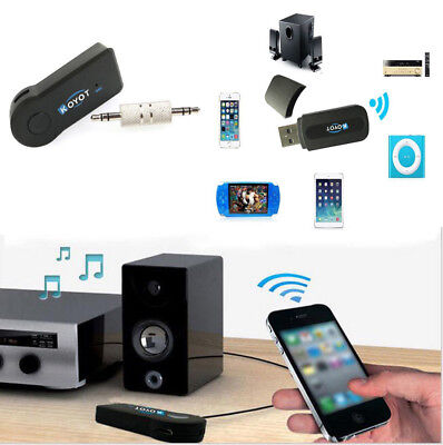 Wireless Bluetooth 3.5mm AUX Audio Stereo Music Home Car Receiver Adapter+Mic O