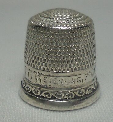 Vintage Sterling Silver Thimble #10 STERN & CO.  Sewing