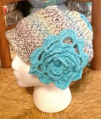 1920's cloche hat brilland blue and green colors winth accent turquoise  flower