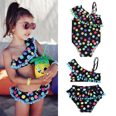 UK Girls Kids Polka Dot Swimwear Bikini Swimsuit Swimming Costume Bathing Suit