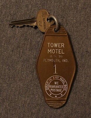 RARE Tower Motel Hotel Key & Fob Room #1 Plymouth IN #1