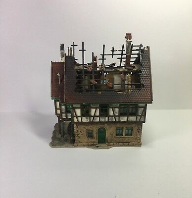 N Scale Fire Damaged House