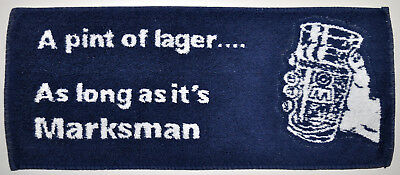 Vintage MARKSMAN LAGER Beer British English Bar Pub Towel Made in England RARE