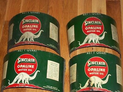 4 DINO Empty 1940 SINCLAIR Oil CANS FLATTENED Man Cave Wall Hanging Gas Station