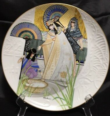 """Knowles collector plate 'THE PHARAOH'S DAUGHTER AND MOSES""""  w/coa 1985"""