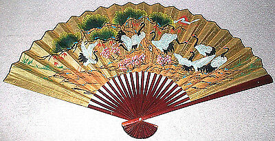 """VINTAGE LARGE ASIAN FAN WALL DECOR HAND PAINTED BIRDS XL 68""""x40"""" CHINESE CHERRY"""