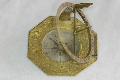 Circa 1750 Augsburg Type Sundial Compass in Travel Case By Johann G. Vogler