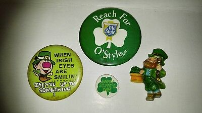 Old Style Beer St Patrick's Day Hallmark Leprechaun Vintage Pinback Button Lot!