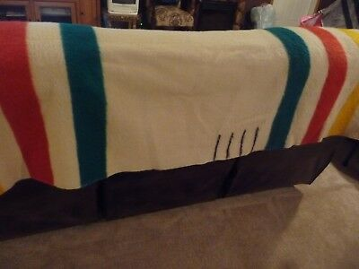 VINTAGE HUDSON BAY WOOL  BLANKET 4 POINT 72 x 90 NICE