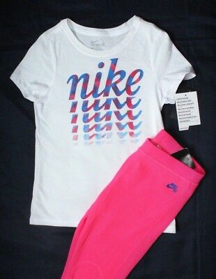 ~GIRL'S NIKE LEGGINGS & T-SHIRT SIZE SMALL 8...LIGHTWEIGHT THERMAL NEW wt TAGS