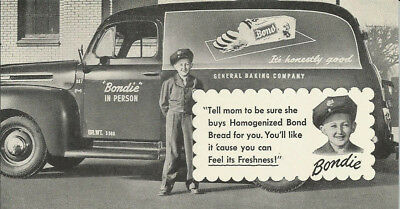 Bond Bread - Bondie - Advertising Blotter - 1940s Panel Truck