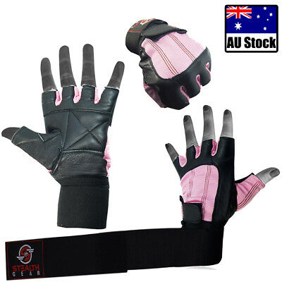 Weight Lifting Leather Gloves Original Gym Exercise Fitness Workout Cycling Pink